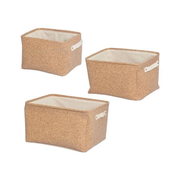 Set 3 coș de depozitare din țesătură de plută Furniteam Storage, maro