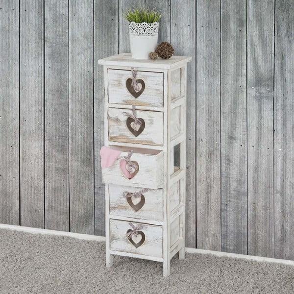 Dřevěná skříňka s 5 šuplíky Mendler Shabby