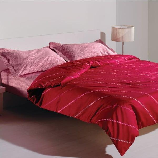 Sada povlečení a prostěradla Spotty Pink, 160x220 cm