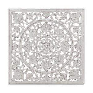 Dřevěná bílá dekorace na stěnu InArt Wooden, 60 x 60 cm
