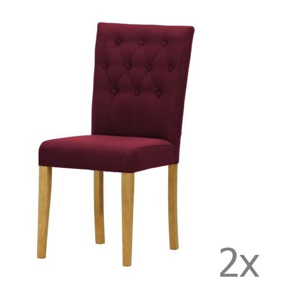 Sada 2 židlí Monako Etna Dark Violet, přírodní nohy