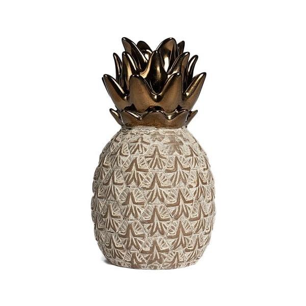 Beżowy ceramiczny ananas dekoracyjny Simla Nanas, wys. 17,5 cm