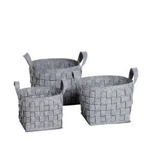 Set feltových košíků, šedé
