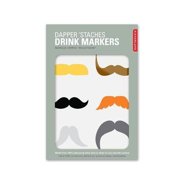 Označovače na skleničky Mustaches