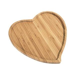 Platou din bambus pentru servire Aminda Heart, lățime 27 cm