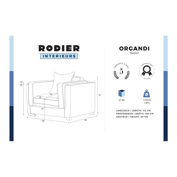 Modré křeslo s krémovými lemy Rodier Intérieurs Organdi