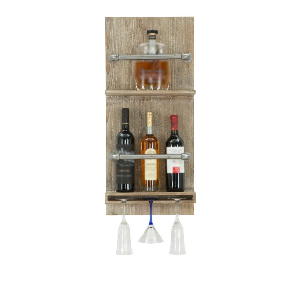 Nástěnný držák na lahve a sklenice Mauro Ferretti Bar, 76 x 34 cm