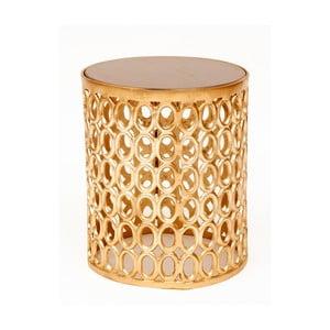 Odkládací stolek ve zlaté barvě s deskou z mangového dřeva Miloo Home Coco