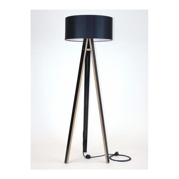 Wanda fekete állólámpa fekete lámpabúrával és fekete kábellel - Ragaba
