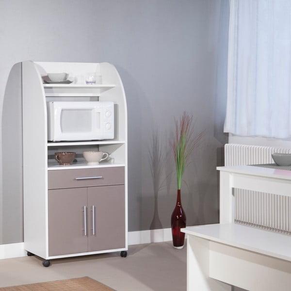Šedý pojízdný kuchyňský úložný systém s policemi Symbiosis Jeanne