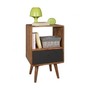 Noční stolek s černou zásuvkou z masivního sheeshamového dřeva Skyport REPA