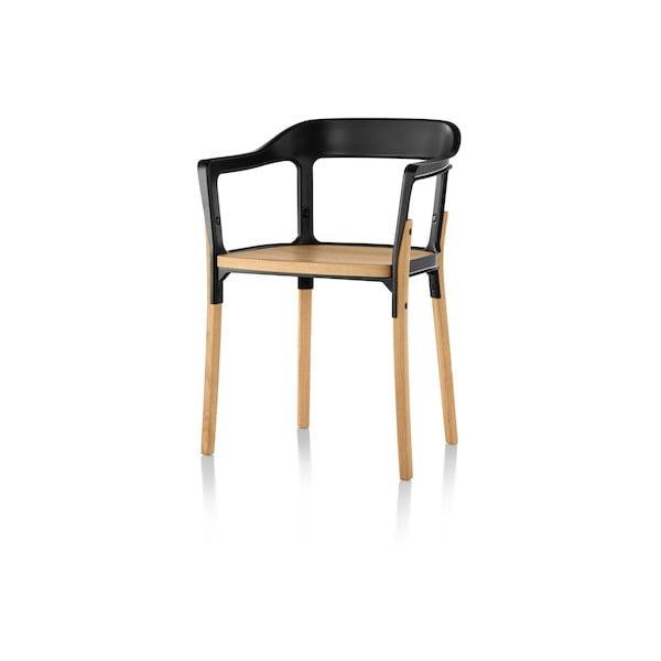 Černo-hnědá jídelní židle Magis Steelwood