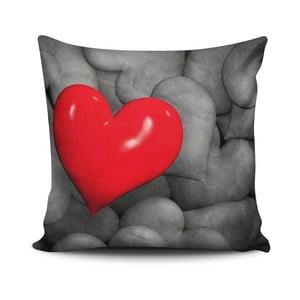 Polštář s příměsí bavlny Calento Heart, 45 x 45 cm
