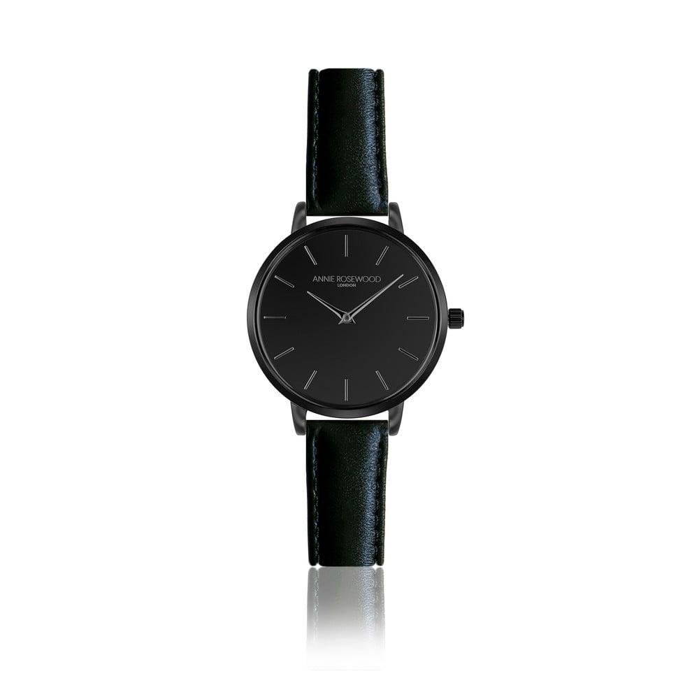 Černé hodinky skoženým řemínkem Annie Rosewood Knight