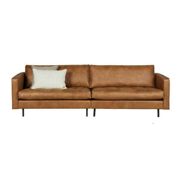 Canapea cu 3 locuri din piele reciclată BePureHome Rodeo, cognac