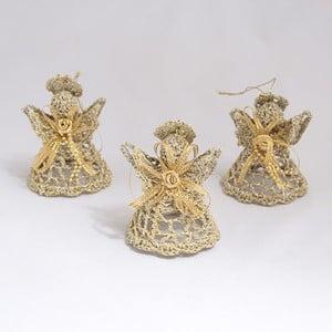 Textilní závěsné dekorace zlatí andílci, 3 ks