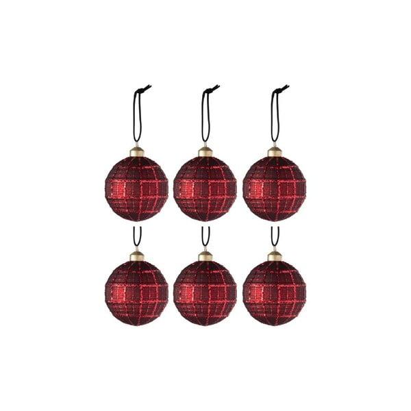 Sada 6 červených skleněných vánočních ozdob J-Line Xmas,ø8cm