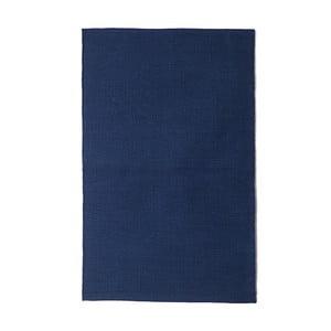 Modrý bavlněný ručně tkaný koberec Pipsa Navy, 140x200 cm