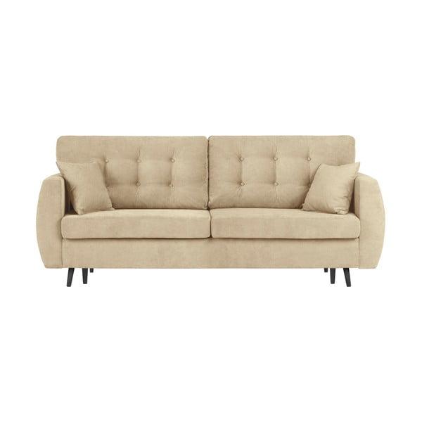 Rotterdam háromszemélyes bézs kinyitható kanapé tárolóval, 231 x 98 x 95 cm - Cosmopolitan design
