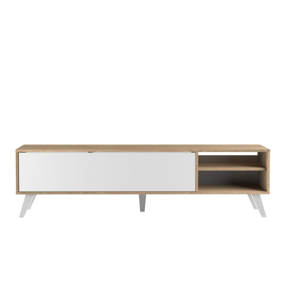 Bílý televizní stolek se světle hnědým korpusem Symbiosis Prism