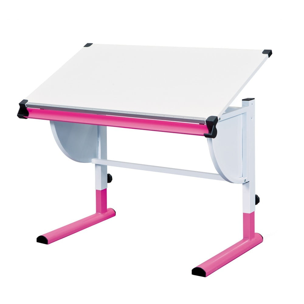 Růžovo-bílý nastavitelný psací stůl 13Casa Beckett