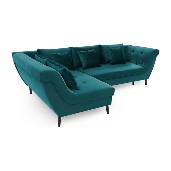 Canapea extensibilă Bobochic Paris Real, pe partea stângă, albastru