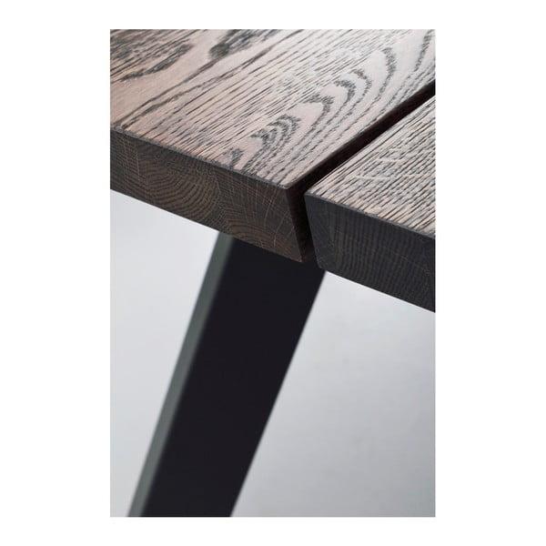 Tmavě hnědý dubový jídelní stůl Folke Freddie