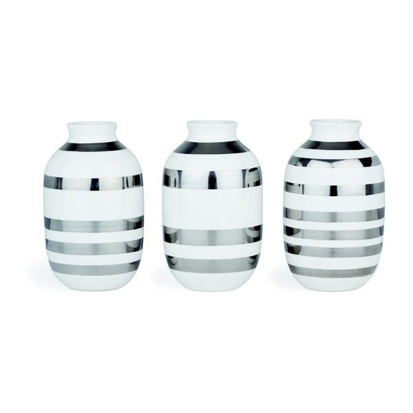 Sada 3 bielych kameninových váz s detailmi v striebornej farbe Kähler Design Omaggio, výška 8 cm