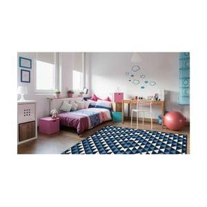Modrý vysoce odolný koberec Floorita Triangles,133x190cm