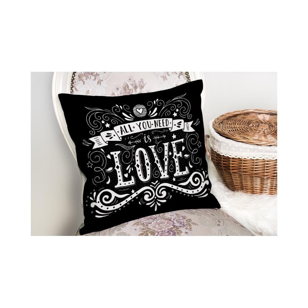 Povlak na polštář s příměsí bavlny Minimalist Cushion Covers Black Love, 45 x 45 cm
