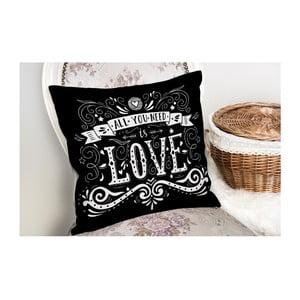 Povlak na polštář s příměsí bavlny Minimalist Cushion Covers Black Love,45x45cm