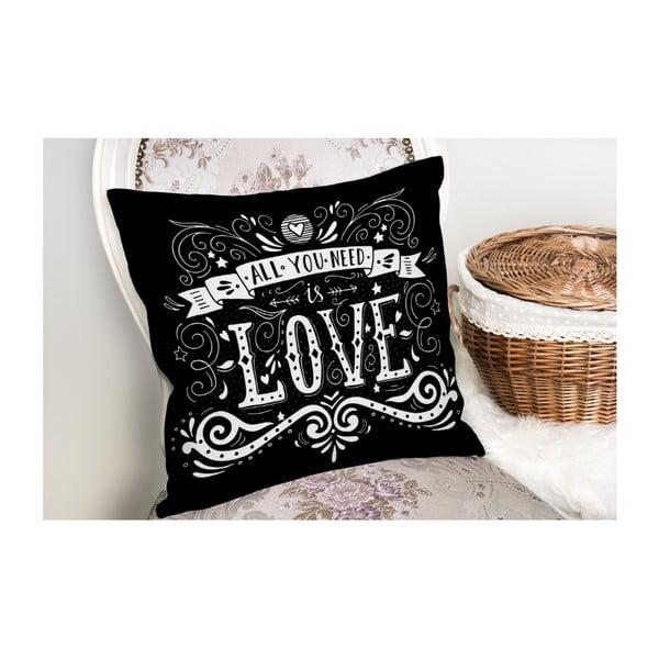 Față de pernă Minimalist Cushion Covers Black Love,45x45cm