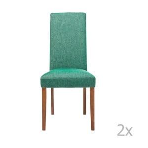 Sada 2 zelených jídelních židlí s podnožím z bukového dřeva Kare Design Rhytm