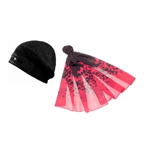 Čepice se šátkem Pink and Black
