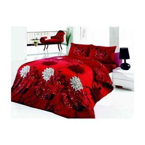 Lenjerie de pat cu cearșaf Acelya, 200 x 220 cm, roșu