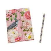 Linkovaný kapesní zápisník s tužkou Botanique by Portico Designs,128stránek