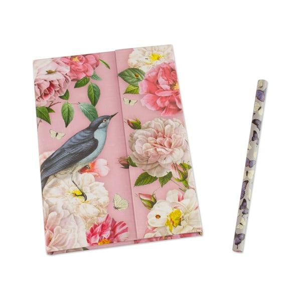 Linkovaný kapesní zápisník s tužkou Botanique by Portico Designs, 128stránek
