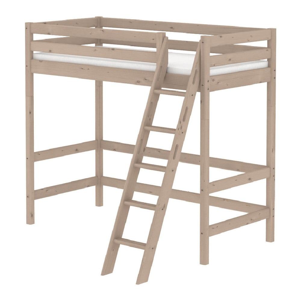 Produktové foto Hnědá dětská vysoká postel z borovicového dřeva s žebříkem Flexa Classic, 90x200cm