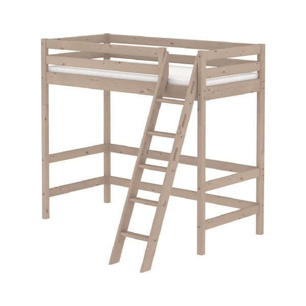 Hnědá dětská vysoká postel z borovicového dřeva s žebříkem Flexa Classic, 90x200cm