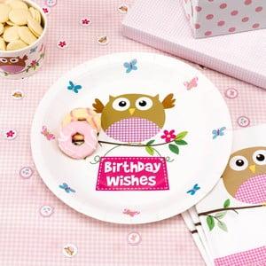 Sada 8 papírových talířů Neviti Little Owls Pink