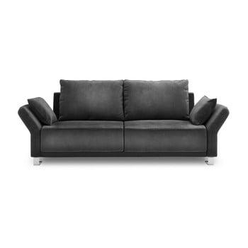 Canapea extensibilă cu înveliș de catifea cu 3 locuri Windsor & Co Sofas Pyxis, gri închis