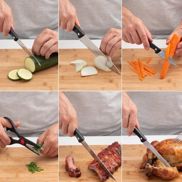 Set 5 cuțite din inox și foarfecă InnovaGoods Classic