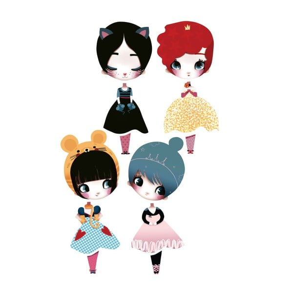 Samolepka Dress Up Dolls, 4 ks