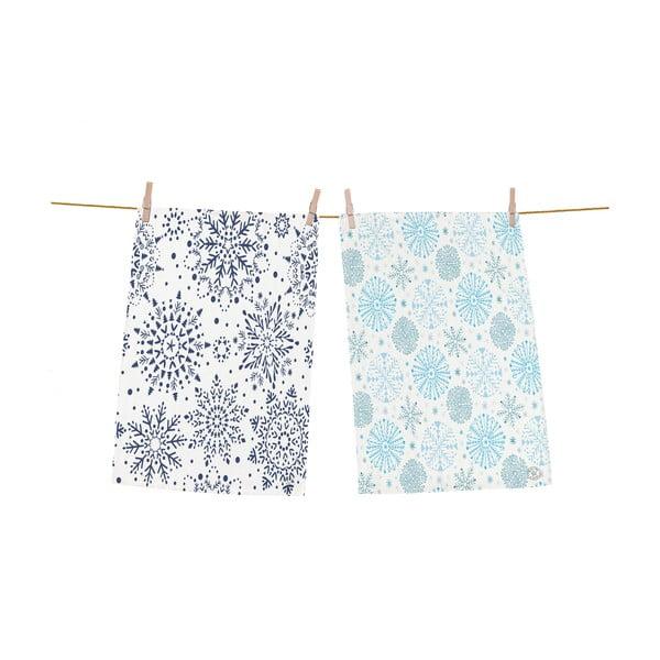 Zestaw 2 niebieskich ściereczek z bawełny ze świątecznym motywem Butter Kings Snowflakes