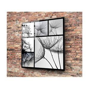 Skleněný černo-bílý obraz 3D Art Harmo, 30x30cm