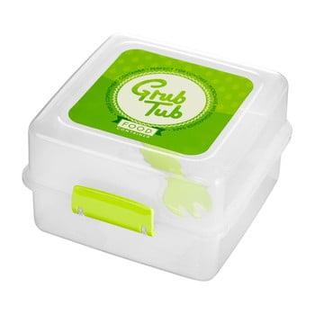 Cutie gustări cu 2 compartimente și tacâmuri Premier Housewares Grub Tub, 13,5 x 10 cm, alb-verde de la Premier Housewares