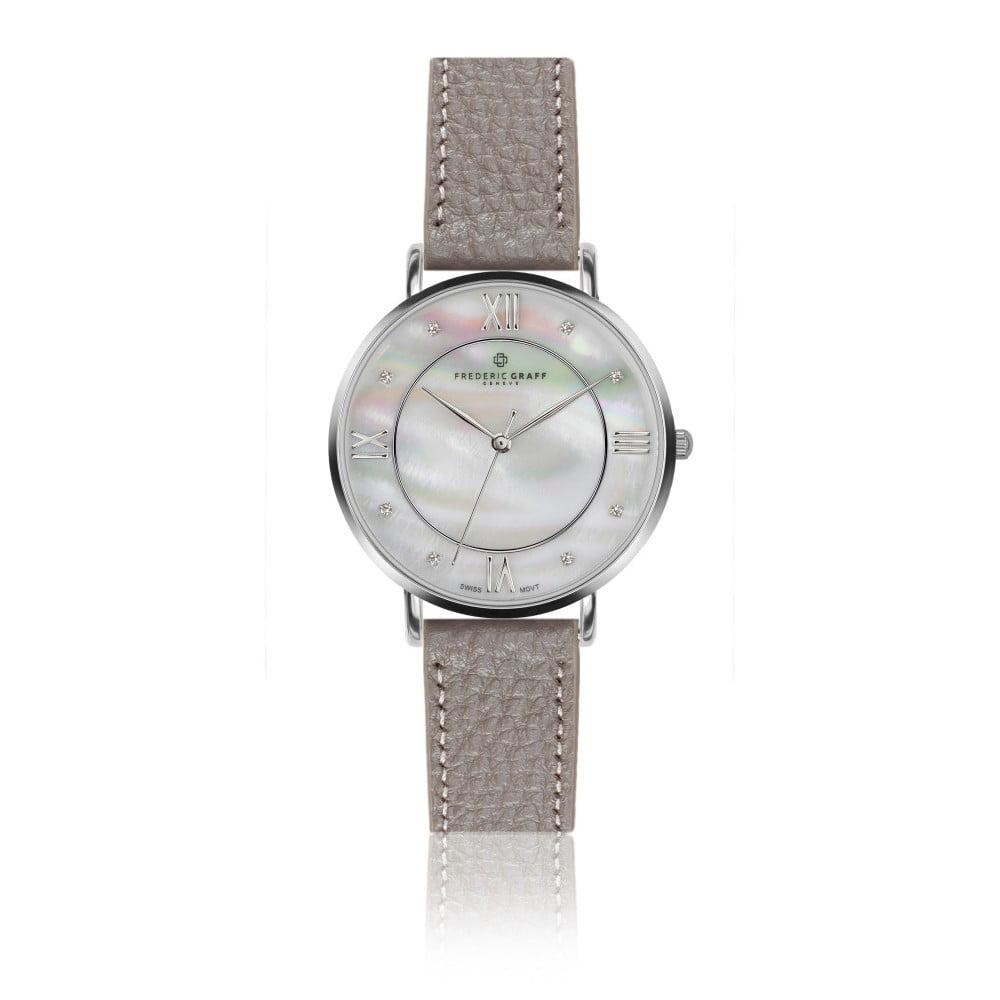 Dámské hodinky s šedým páskem z pravé kůže Frederic Graff Silver Liskamm Lychee Grey Leather