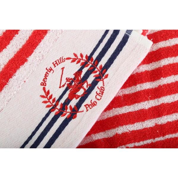 Červeno-bílý bavlněný ručník BHPC Cotton, 50x100 cm