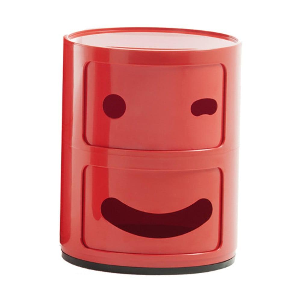 Červený kontejner se 2 zásuvkami Kartell Componibili Blink