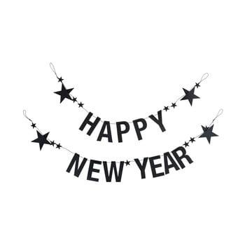 Set 2 ghirlande din hârtie pentru Anul Nou Bloomingville Garland, negru